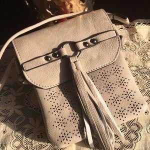 Handbags - Grey Tassel Laser Cut Mini Crossbody Bag